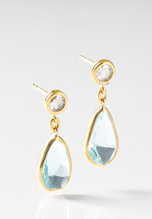 Margoni 18K, Diamond and Aquamarine Earrings