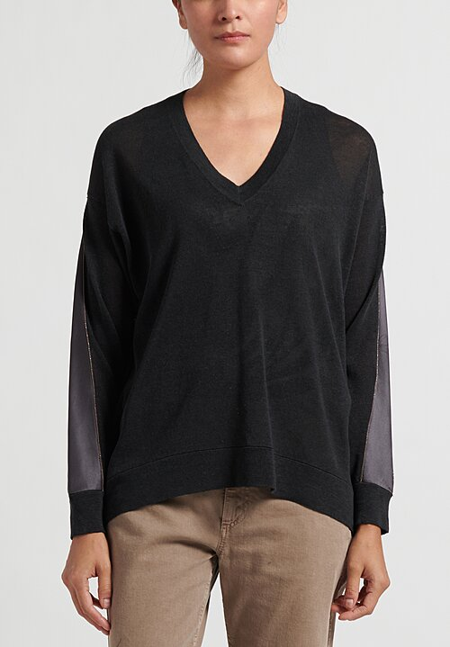 Brunello Cucinelli Linen V-Neck Sweater with Satin Insert in Lignite