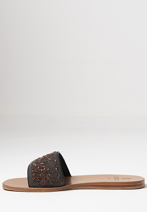 Brunello Cucinelli Monili & Sequins Slide Sandals in Bronze