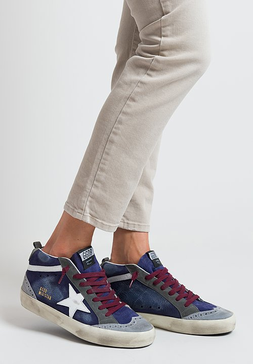 Golden Goose Mid Star Sneaker in Navy Suede