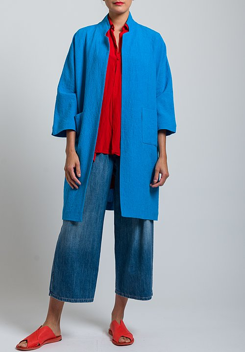 Daniela Gregis Linen Lightweight Sunflower Coat in Turquoise