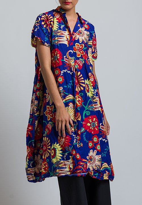 Daniela Gregis Washed Cotton Liberty Print Dress in Violet