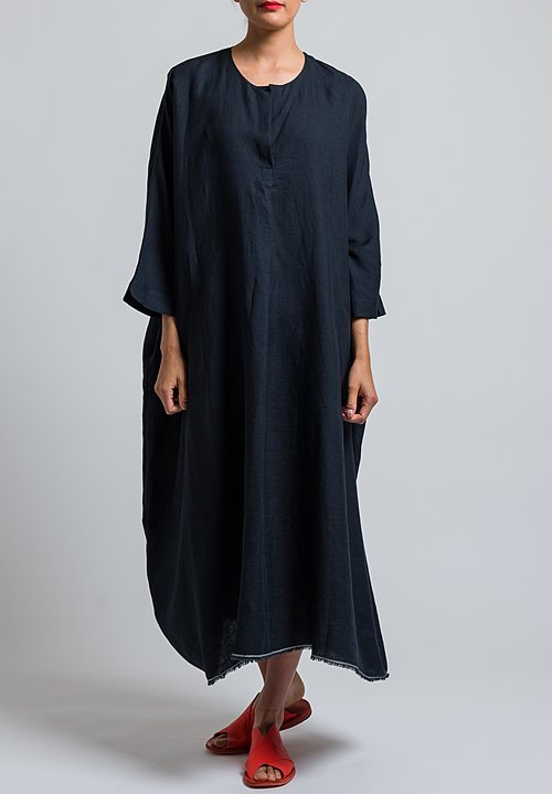 Daniela Gregis Oversized Linen Dress in Black