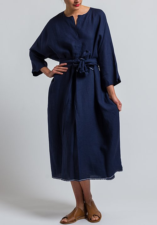Daniela Gregis Oversized Linen Dress in Navy Blue