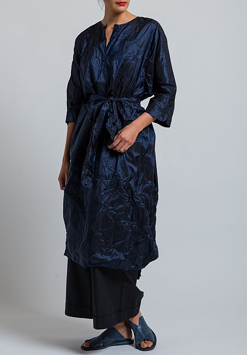 Daniela Gregis Washed Silk Oversized Taffeta Dress in Navy Blue