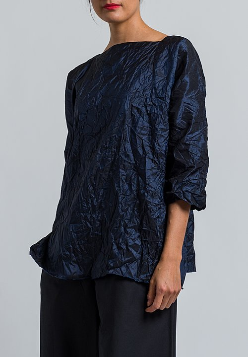 Daniela Gregis Washed Silk Taffeta Top in Blue Navy