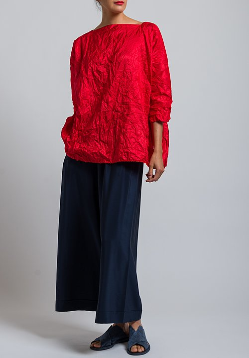 Daniela Gregis Washed Silk Taffeta Top in Red