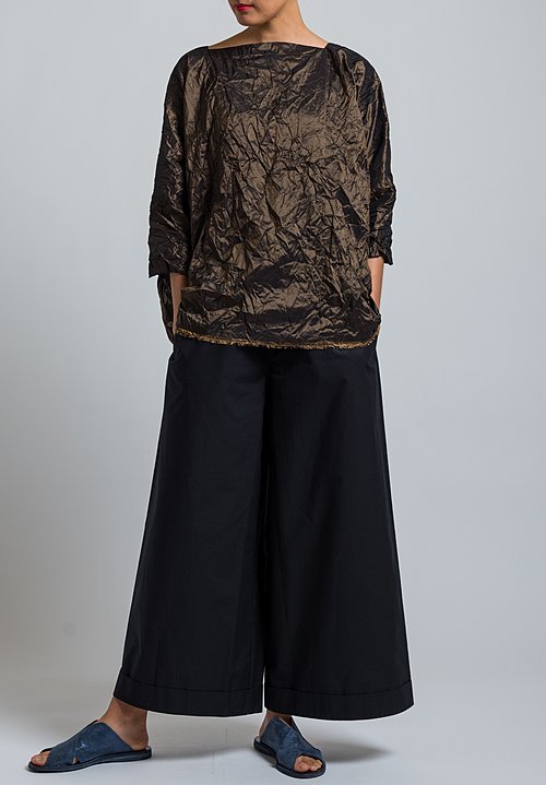 Daniela Gregis Washed Silk Taffeta Top in Bronze