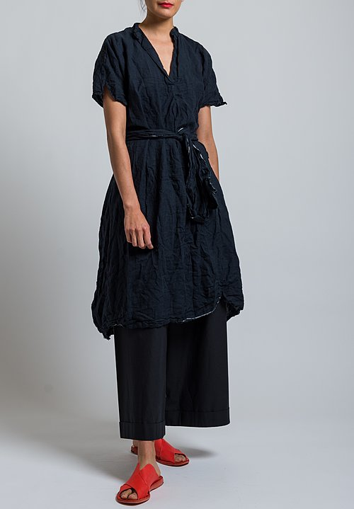 Daniela Gregis Washed Linen Manichina Dress in Black