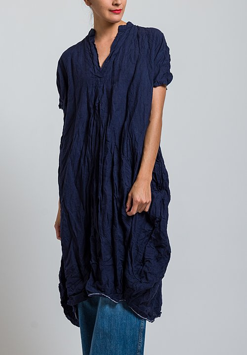 Daniela Gregis Washed Linen Manichina Dress in Navy Blue