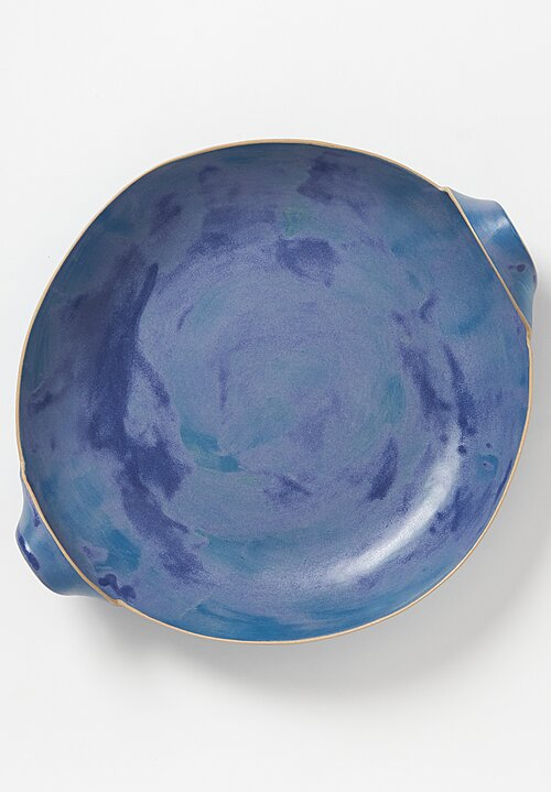 Laurie Goldstein Large Ceramic Bowl with Handles in Blue