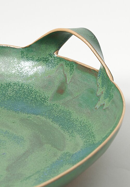 Laurie Goldstein Large Ceramic Bowl with Handles in Green