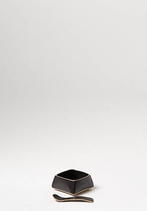 Laurie Goldstein Small Ceramic Salt Cellars with Spoon in Black