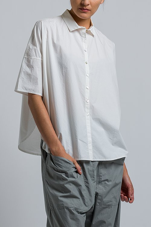 Album di Famiglia Cotton Short Shirt in Milk