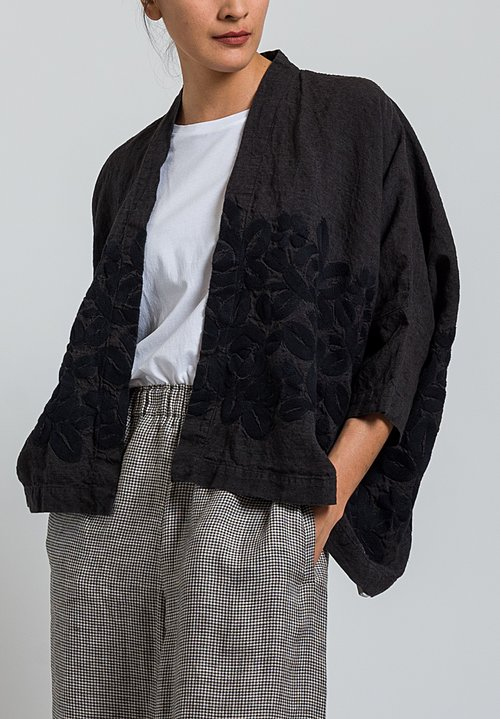 Kaval Short Embroidered Haori Jacket in Black