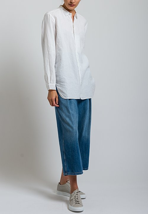 Kaval Simple Linen Shirt in Off White