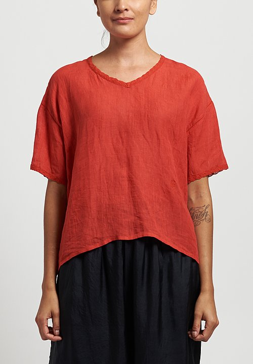 Maison De Soil Lace V-Neck Top in Red