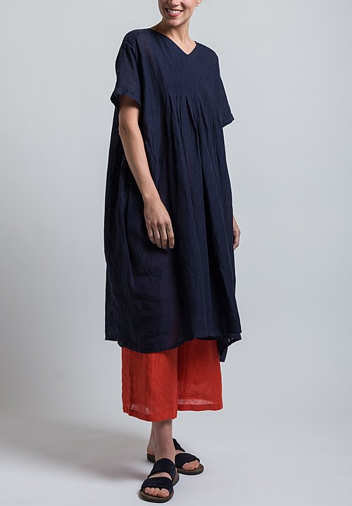 Maison de Soil Linen Inverted Pleated V-Neck Dress in Dark Navy