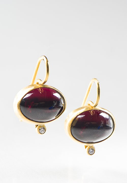 Stephanie Albertson 22K, Rhodolite Garnet and Diamond Earrings