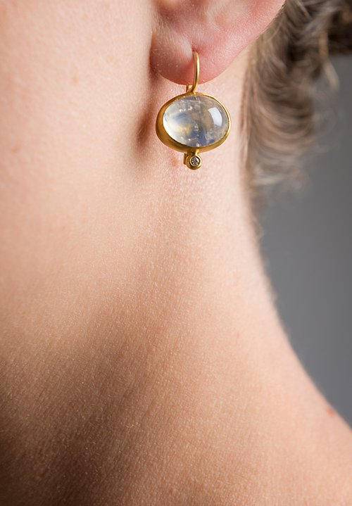 Stephanie Albertson 22K, Moonstone and Diamond Earrings
