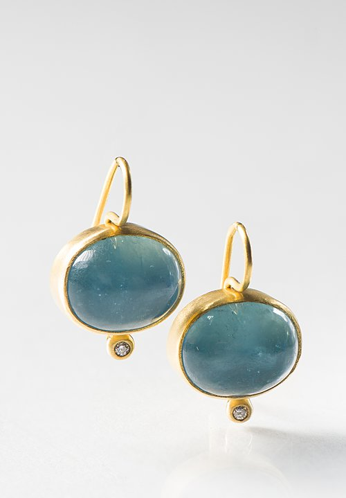 Stephanie Albertson 22K, Aqua, Diamond Earrings