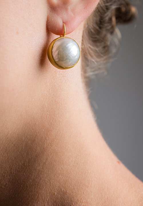 Stephanie Albertson 22K, Mabe Pearl Button Earrings