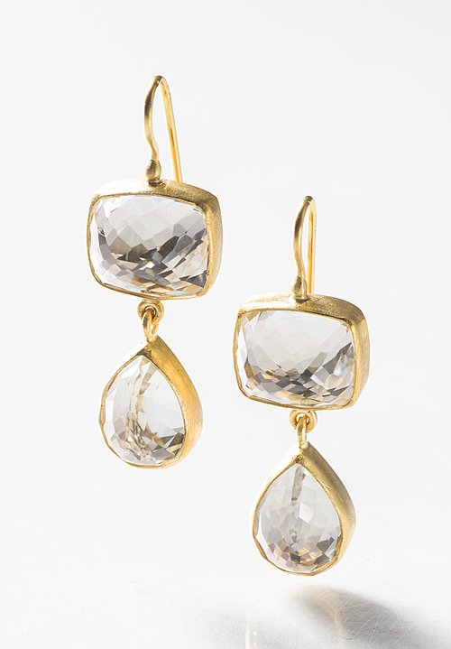 Stephanie Albertson 22K, Double Drop White Topaz Earrings