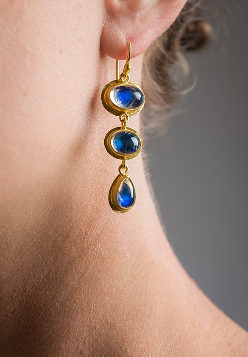 Stephanie Albertson 22K, Blue Moonstone Earrings