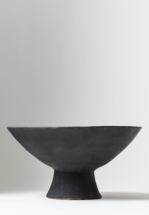 Danny Kaplan Handmade Ceramic Medium Footed Bowl Black