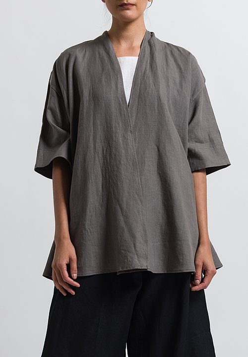 Cosmic Wonder Linen Japanese Haori Jacket in Grey