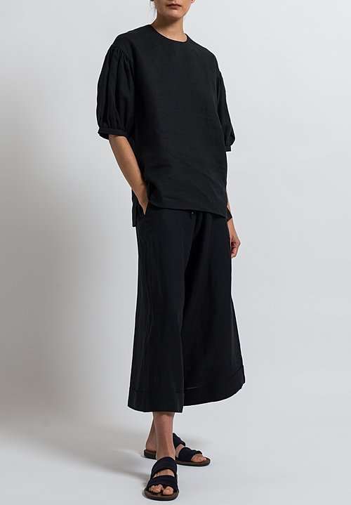Cosmic Wonder Japanese Puff Sleeve Top in Black