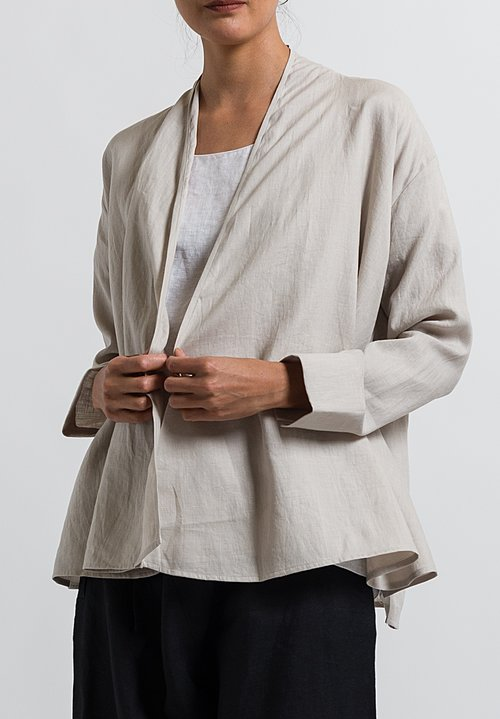 Cosmic Wonder Light Linen Haori Jacket in Greige