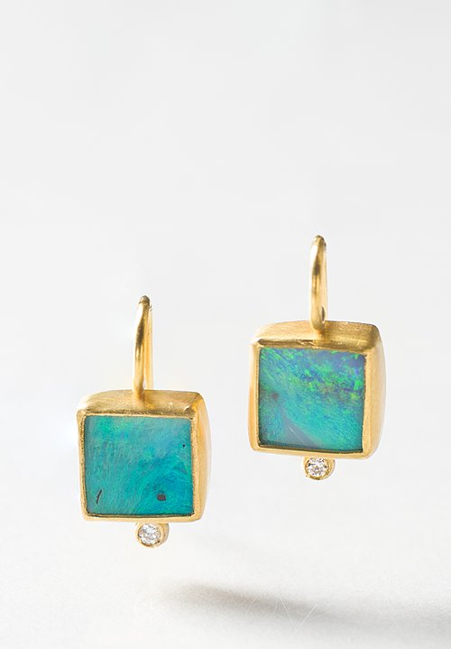 Stephanie Albertson 22K, Bouder Opal, Diamond Earring