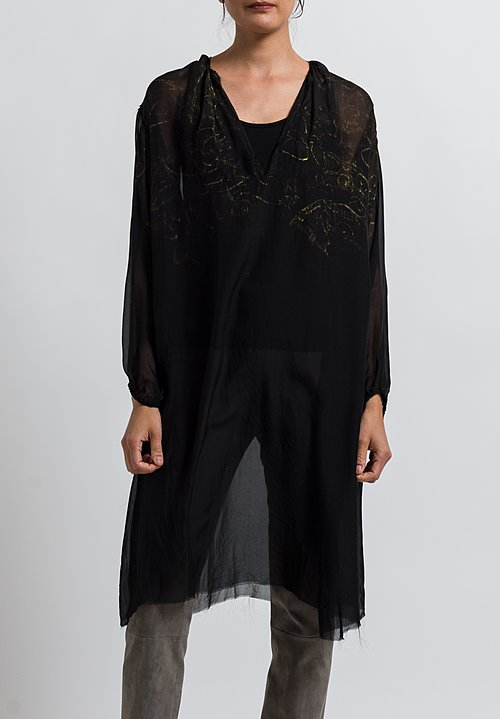 Jaga Silk Painted Chiffon Tunic in Black/ Gold