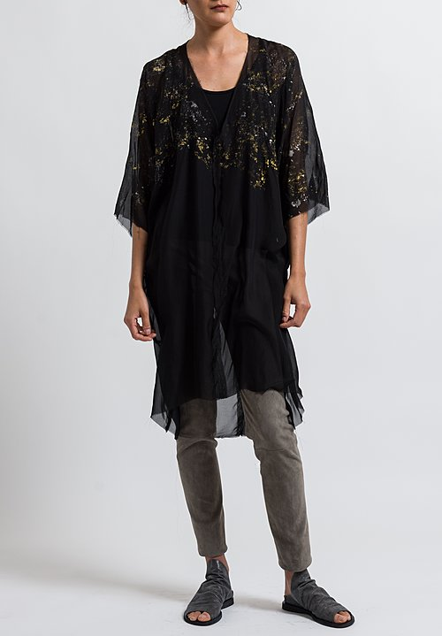 Jaga Silk Long Chiffon Tunic in Black/ Gold