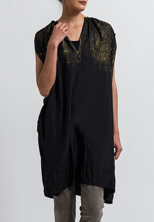 Jaga Silk Sleeveless Painted Tunic in Black/ Gold