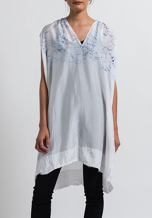 Jaga Silk Sleeveless Painted Tunic in White/ Blue
