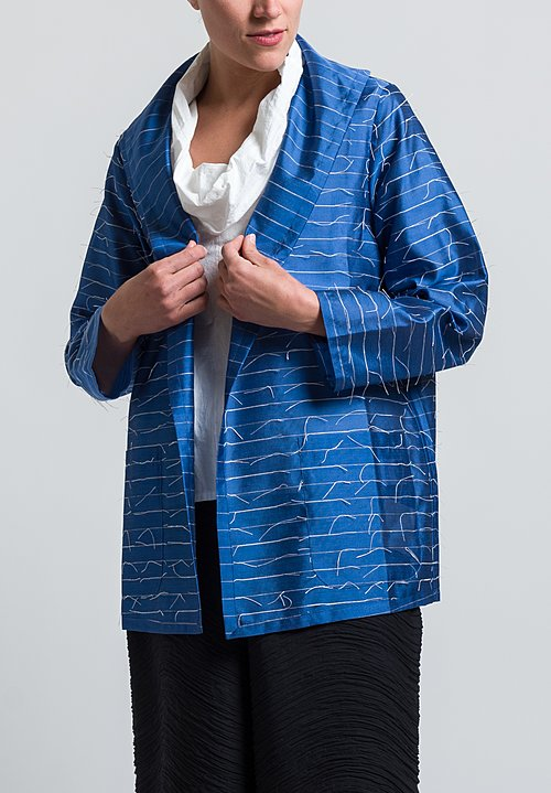 Nuno Silk Kibiso Not-Knots Jacket in Blue