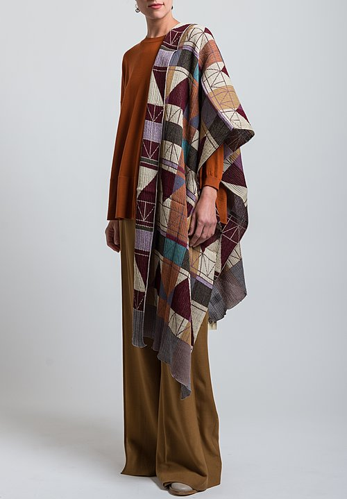 Nuno Wool Frank Lloyd Wright Inspired Fold Away Scarf in Red Mix