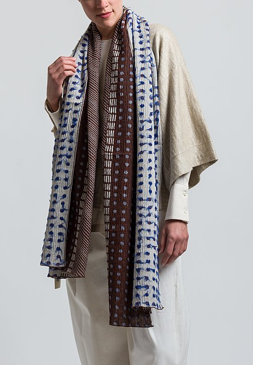 Nuno Lentils Shawl in Blue / White / Brown