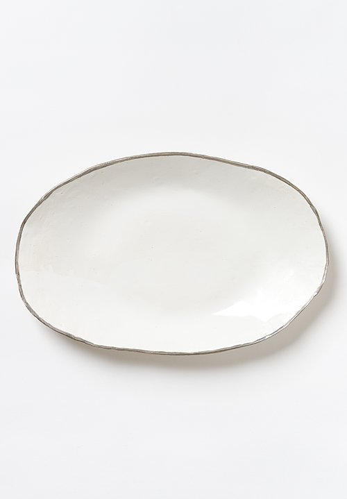 Jan Burtz Large Oval Porcelain Platter with Silver Trim