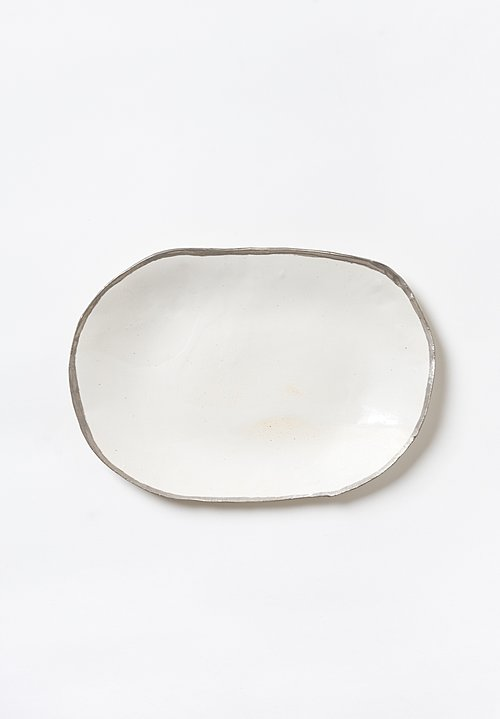 Jan Burtz Medium Oval Porcelain Platter with Silver Trim