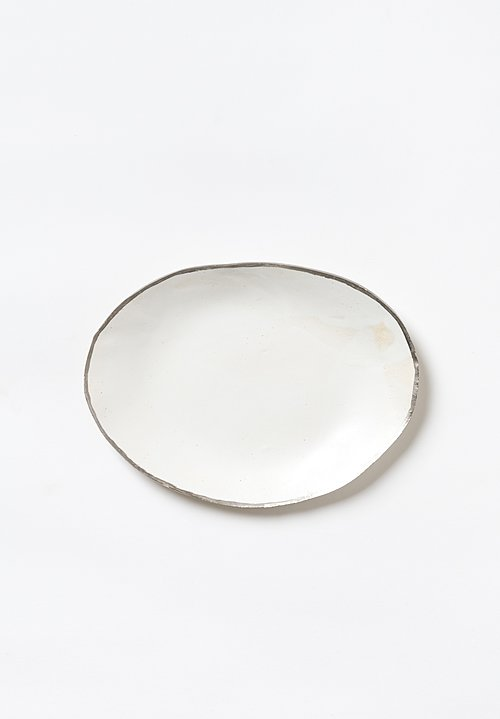 Jan Burtz Small Oval Porcelain Platter with Silver Trim