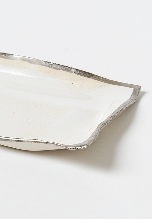 Jan Burtz Rectangle Porcelain Tray with Silver Trim