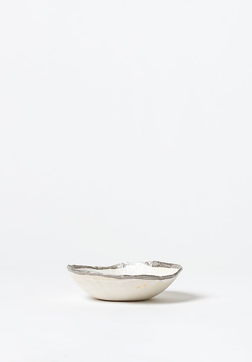 Jan Burtz Porcelain Salad Bowl with Silver Trim