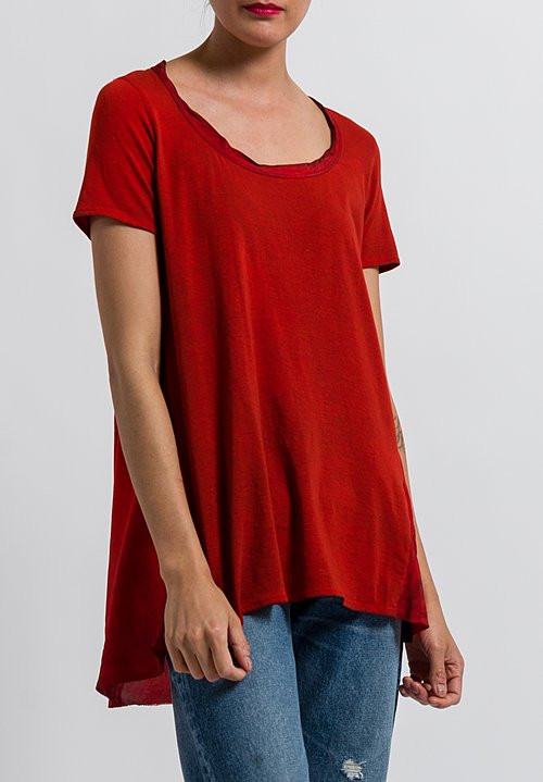 Uma Wang Cotton Candore Jade Top in Spicy Red