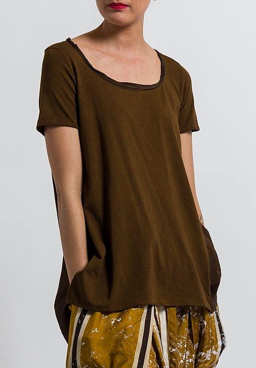 Uma Wang Cotton Candore Jade Top in Coffee
