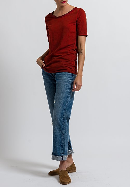 Uma Wang Stretch Cotton Jane Top in Spicy Red