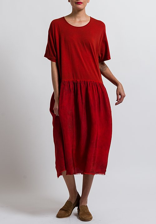 Uma Wang Cotton Dana Dress in Spicy Red