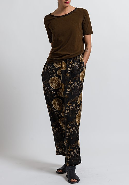 Uma Wang Floral Palmer Pants in Black/ Tan/ Coffee